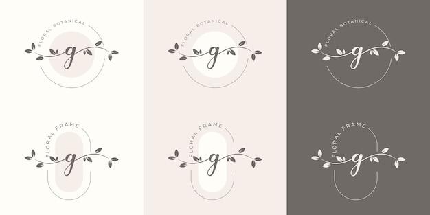 Feminime letter g with floral frame logo template Premium Vector