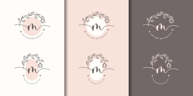 Feminime letter m with floral frame logo template