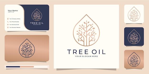 Женственное и современное дерево с каплей масла. Premium векторы