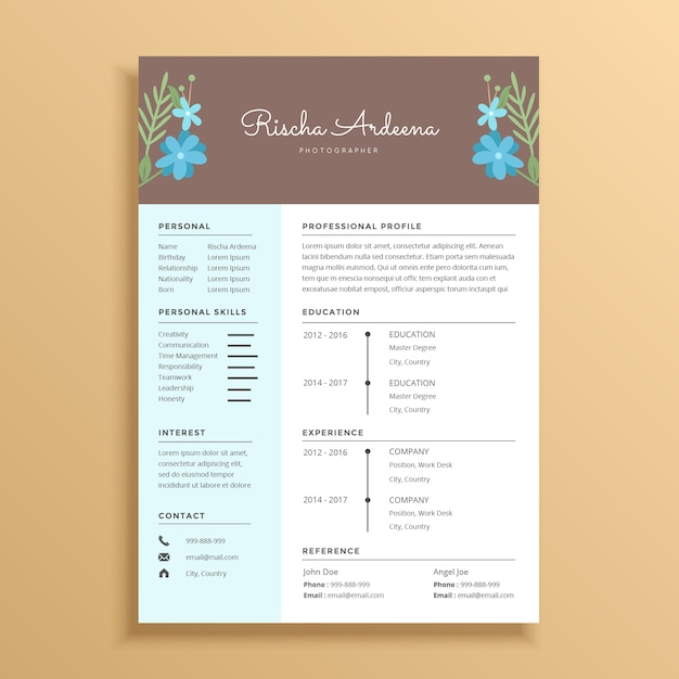feminine and beautiful resume template design with flower ornament vector
