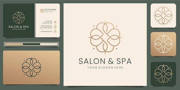 Feminine beauty salon and spa line art monogram shape logo.golden logo design, icon and business card template. premium vector Premium Vector