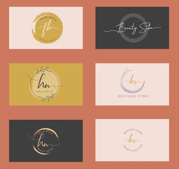 Feminine branding logos Premium Vector