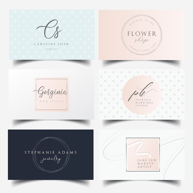 Feminine business card design with editable logo Premium Vector