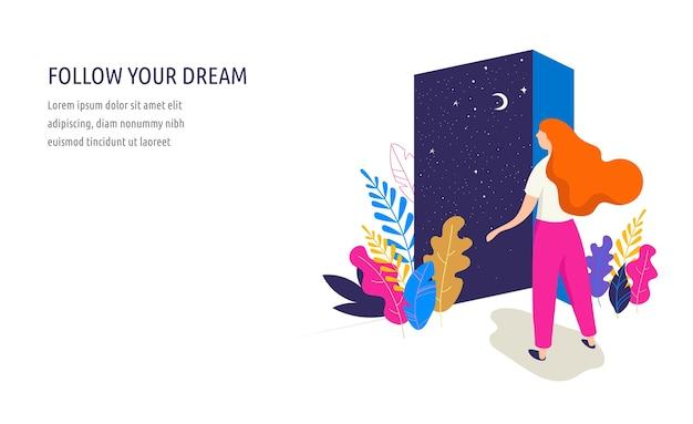 여성 컨셉 일러스트, 아름 다운 여자는 밤 하늘 볼 수있는 문을 엽니 다. 꽃과 잎으로 장식 된 캐릭터. 평면 스타일 벡터 디자인 모음 프리미엄 벡터