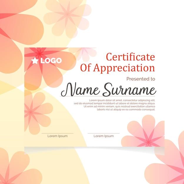 Feminine elegant  certificate Premium Vector
