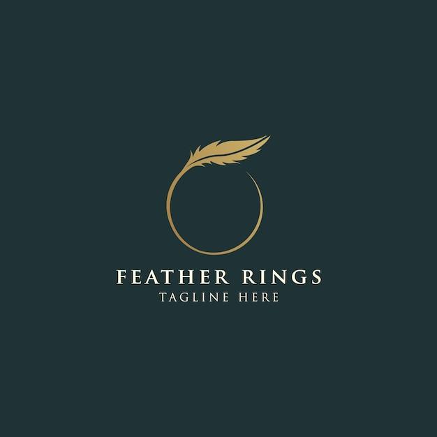 Роскошный женский логотип с перьями Premium векторы