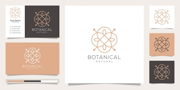 Feminine and floral botanical, logo suitable for spa salon, skin hair beauty boutique and cosmetic, company. Premium Vector