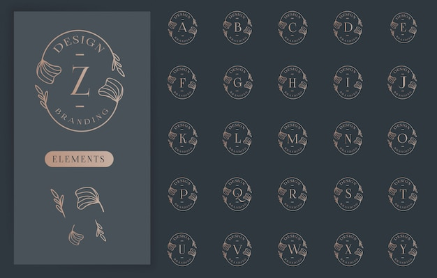 Feminine floral letter logos collections Premium Vector