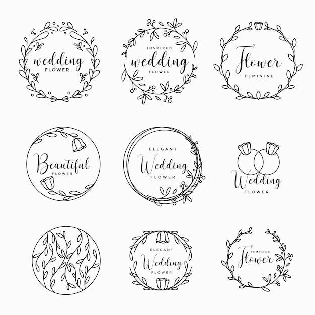 Feminine floral wedding logo collection Premium Vector
