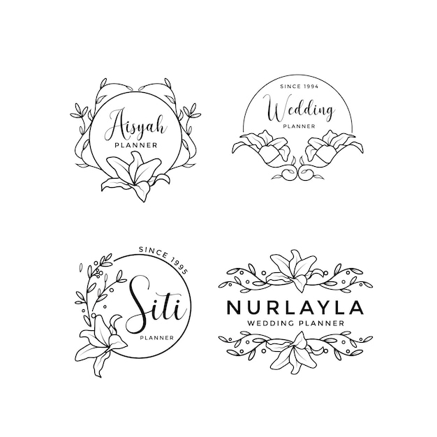 Feminine floral wedding logo collection Premium Vector