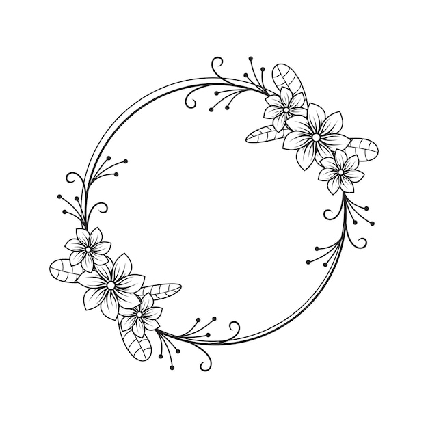 Feminine flower florist wedding line circle frame ornament Premium Vector