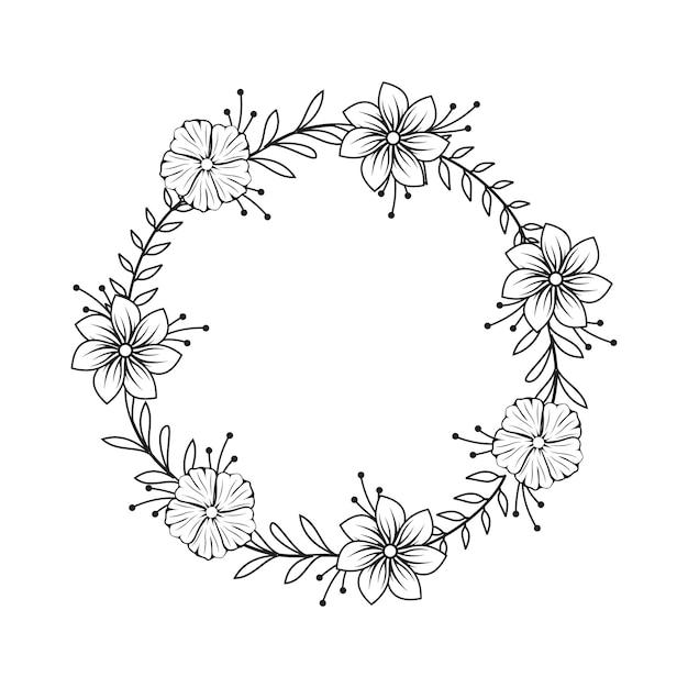 Feminine flower florist wedding line circle frame ornament Premium Vector