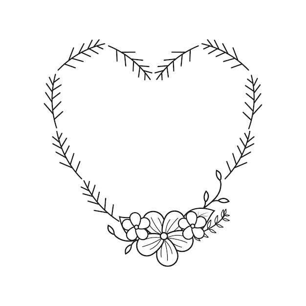 Feminine flower florist wedding line frame ornament Premium Vector