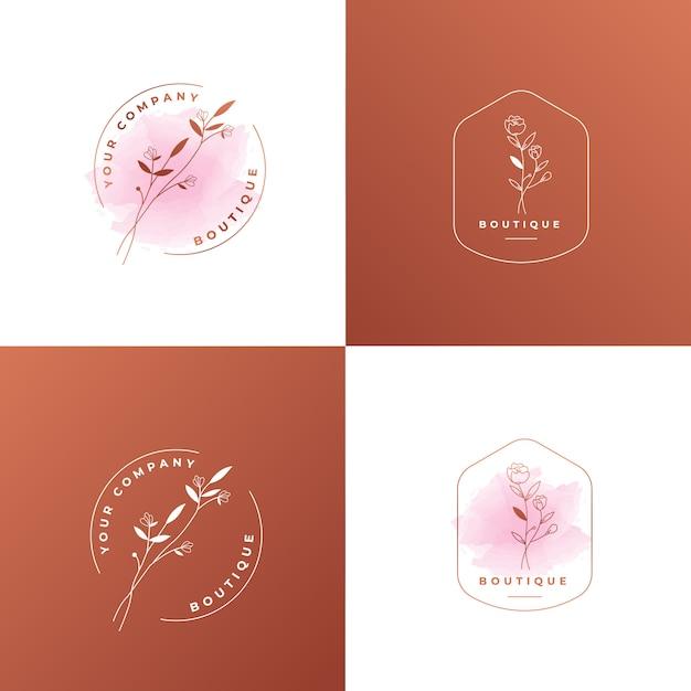 여성 꽃 로즈 골드 로고 템플릿 프리미엄 벡터