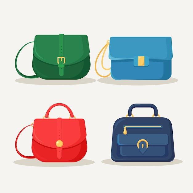 ショッピング、旅行、休暇のためのフェミニンなハンドバッグ。白い背景の上のハンドル付きレザーバッグ。夏の女性のアクセサリーの美しいカジュアルコレクション。 Premiumベクター