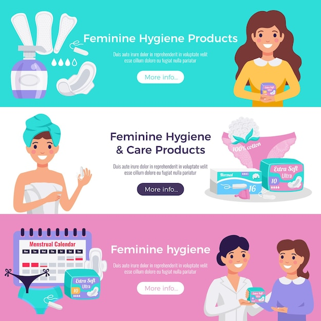Feminine hygiene and care products 3 flat horizontal website banners with tampons pads medical advice Free Vector