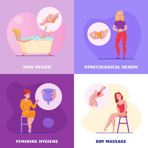 Концепция женской гигиены 4 плоских композиции с уходом за кожей массаж влагалища здоровья гинекологические продукты векторные иллюстрации Бесплатные векторы