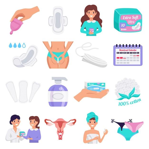 女性用衛生フラットアイコンタンポン月経カップ天然布パッドパンティーライナー分離で設定 無料ベクター