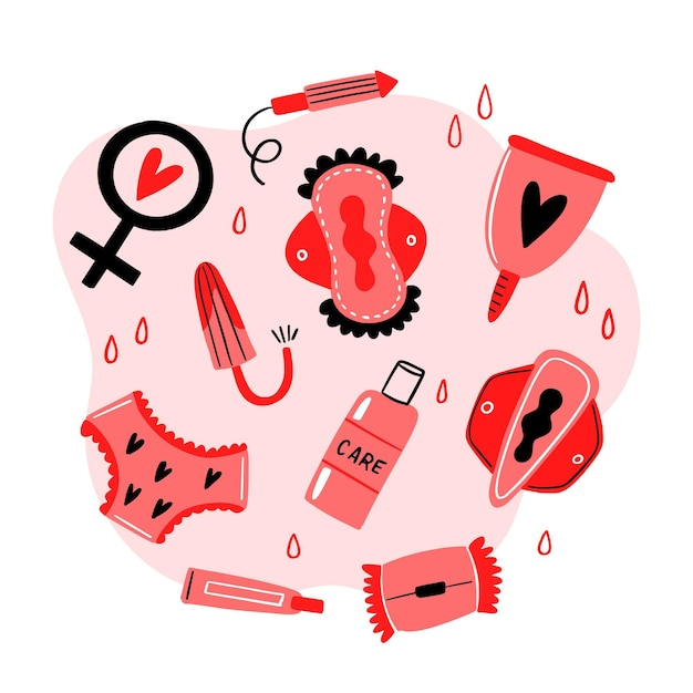 Feminine hygiene products concept Free Vector