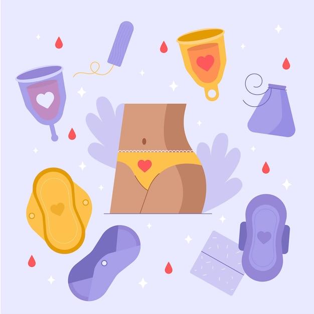 Иллюстрация продуктов женской гигиены Бесплатные векторы