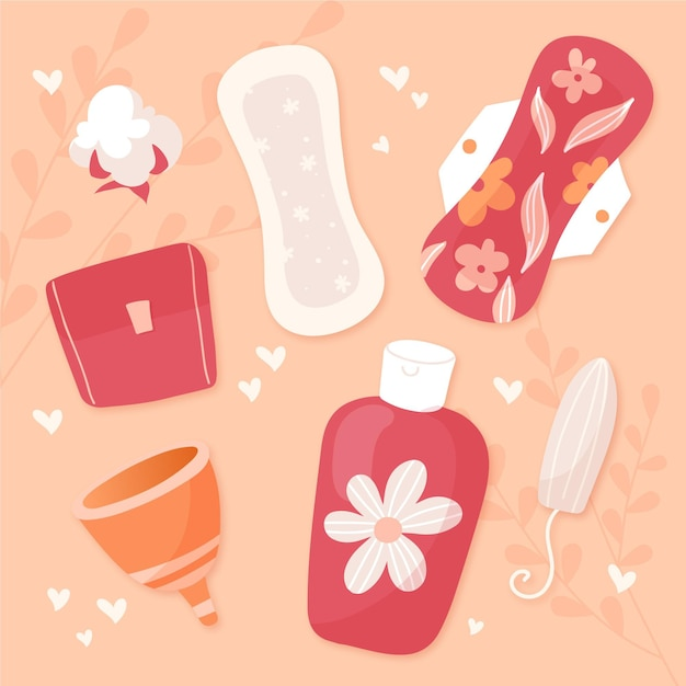 Иллюстрации продуктов женской гигиены Бесплатные векторы