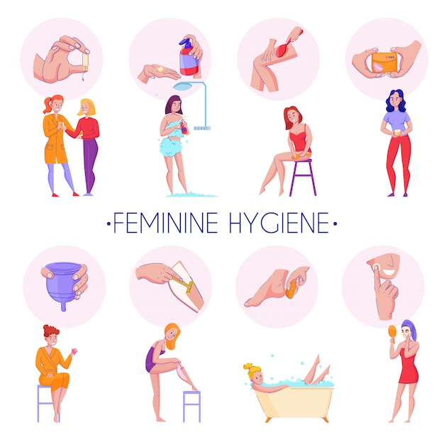 Feminine hygiene products procedures flat informative compositions set with skin massage reproductive organs health care vector illustration Free Vector