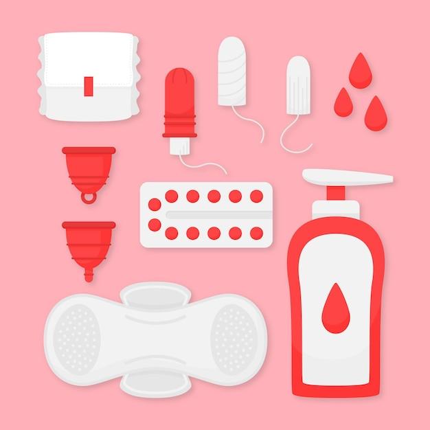 女性用衛生用品セット 無料ベクター