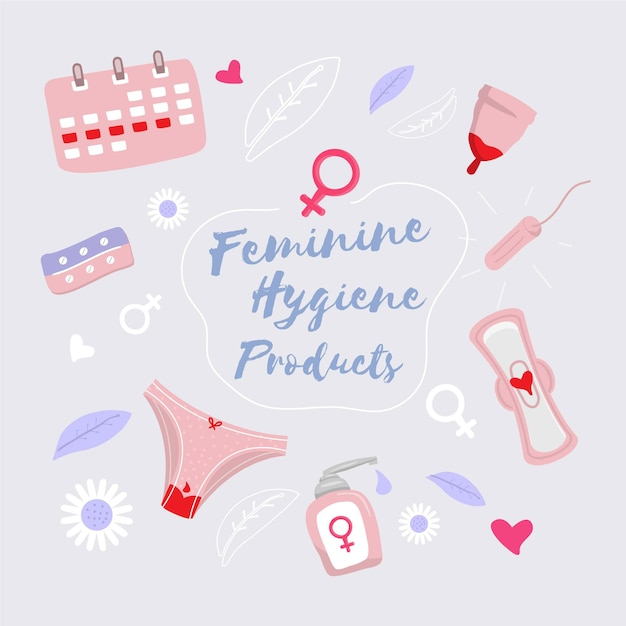 Feminine hygiene products Free Vector