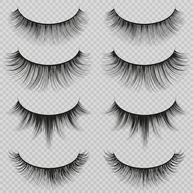 Feminine lashes vector set. realistic false eyelashes fashion collection Premium Vector