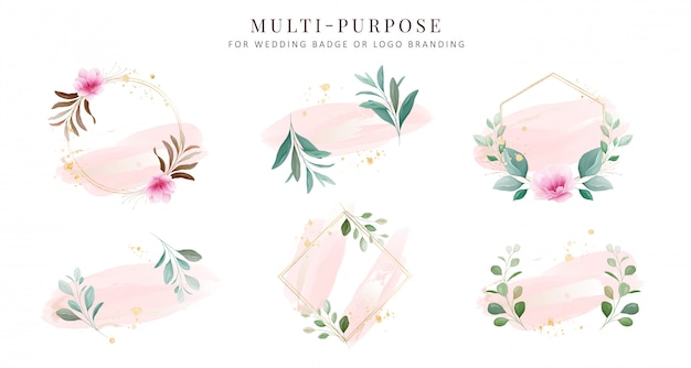 Feminine logo collections. hand drawn modern floral and watercolor badge templates Premium Vector