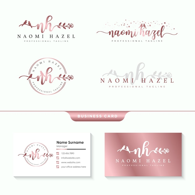 Feminine logo collections template Premium Vector