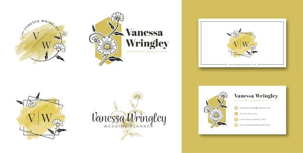 Женский логотип цветок с визиткой Premium векторы