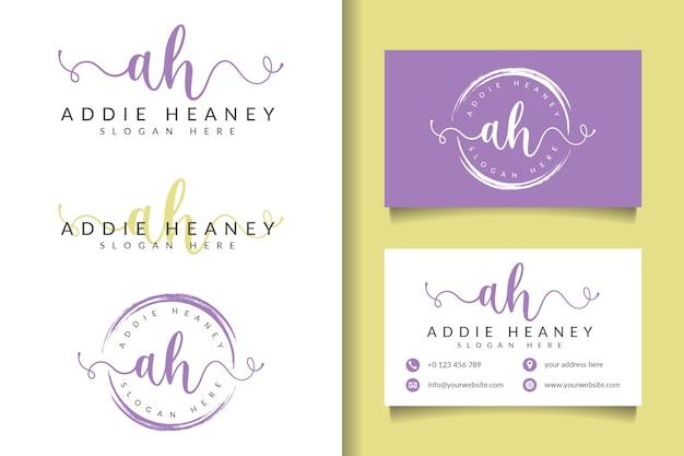 Женский логотип initial ах и шаблон визитной карточки Premium векторы