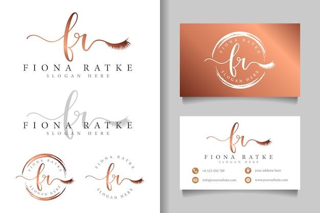 Женский логотип первоначальный fr и шаблон визитной карточки Premium векторы