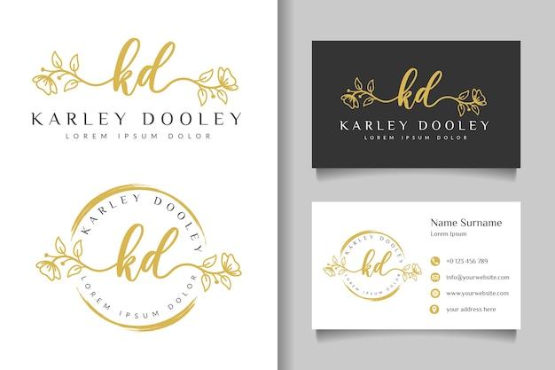 Женский логотип начальный kd и шаблон визитной карточки Premium векторы