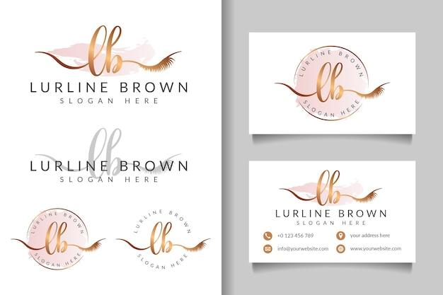 Женский логотип начальный фунт и шаблон визитной карточки Premium векторы