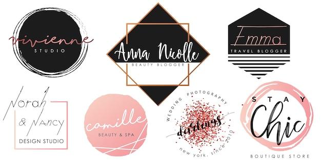 Женский логотип установлен в черном, розовом и золотом Premium векторы