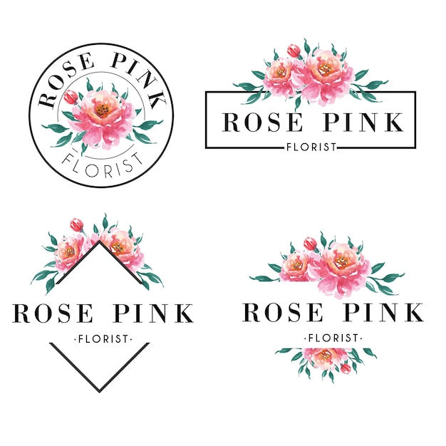 Feminine logo set in watercolor rose pink Premium Vector