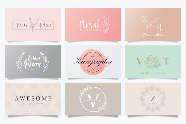 Feminine logos and business cards Premium Vector