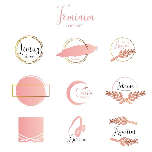 Feminine and minimalist logo template collection Premium Vector
