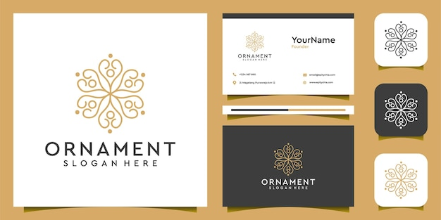 Feminine ornament logo and business card set Premium Vector