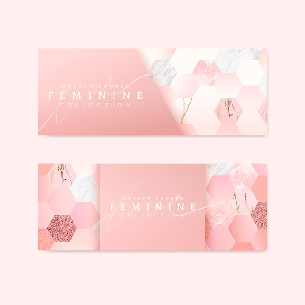 Feminine pink banners Free Vector
