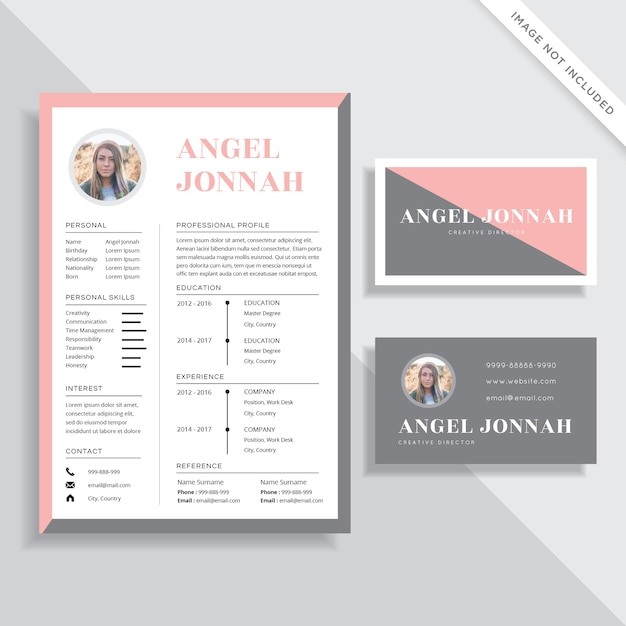 Feminine Resume CV And Business Card Template Design Set Premium Vector