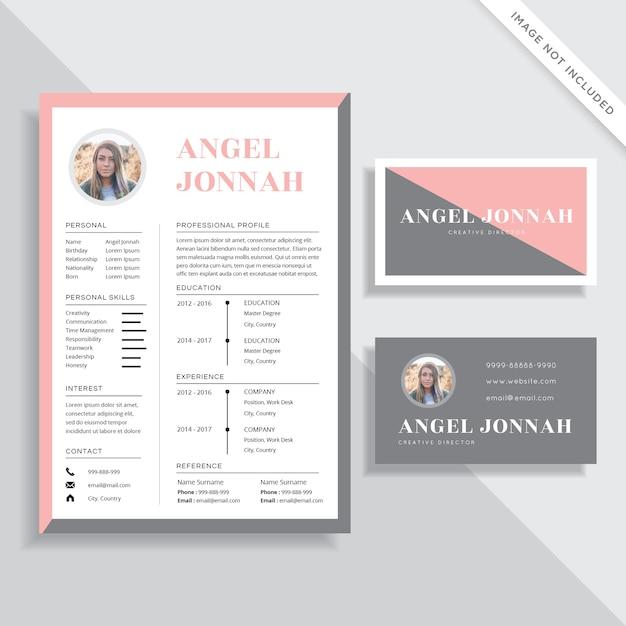 Feminine Resume Cv And Business Card Template Design Set Vector