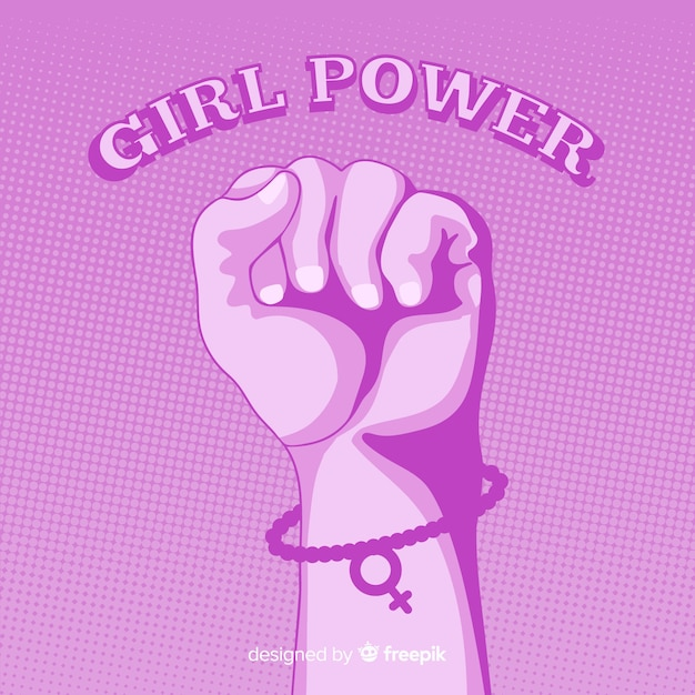 Feminism composition with flat fist Free Vector