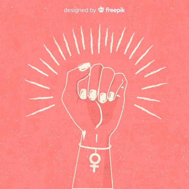 Feminism composition with hand drawn fist Premium Vector