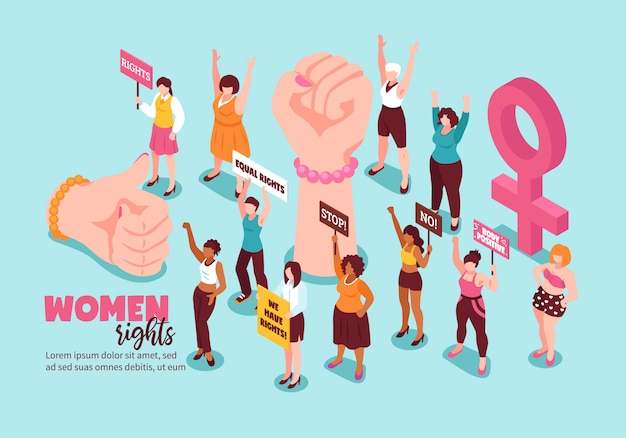 Feminism gestures and activists for women rights with placards Free Vector