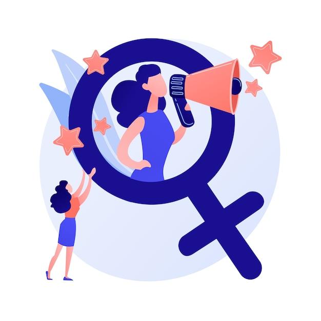 フェミニズム。女性の権利の保護。社会的および政治的運動。イデオロギー、家父長制、性差別。男女平等。女性活動家。ベクトル分離された概念の比喩の図。 無料ベクター