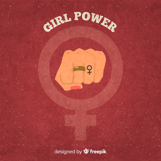 Feminist composition with grunge fist Free Vector