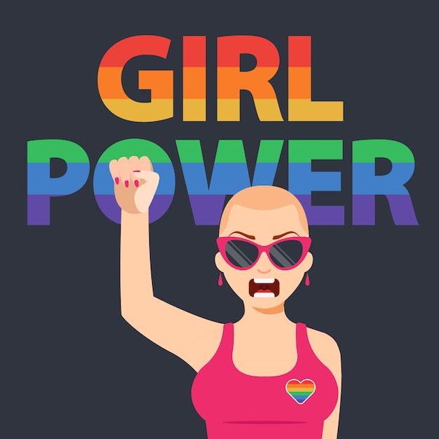 Feminist girl raises her fist up. protection of women's rights. flat character   illustration Premium Vector